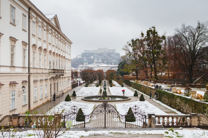 views to hohensalzburg fortress from mirabell gardens at winter landscape
